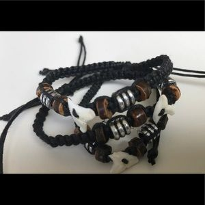 Jewelry - Surfer shark tooth bracelet lot of 3